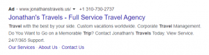 Call extension google ads extension example