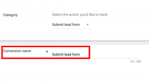 Conversion Name section- Google Ads