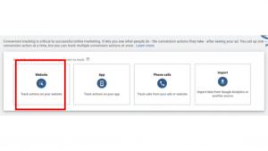 Website option Conversion section- Google Ads