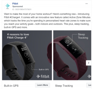 FitBit Ad highlighting its new product features