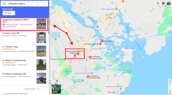 Location extensions on Google Maps