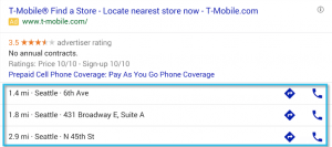 Google search network- location extension sample ad