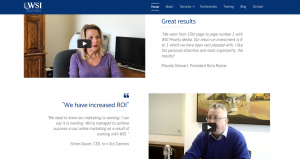 WSI client testimonial on homepage
